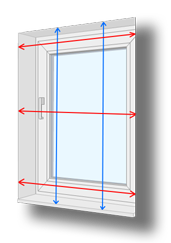 Measuring guide for standard windows: Recess Fitting