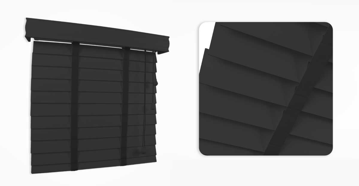 Charcoal Wooden Blind 50mm