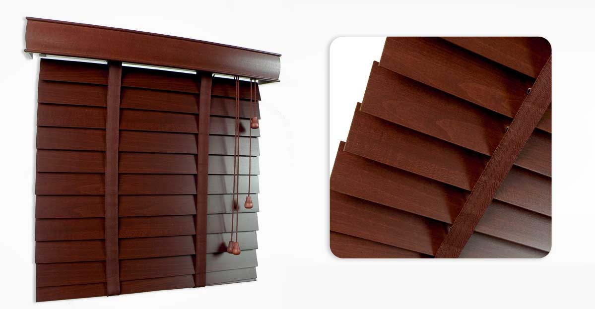 Red Mahogany Wooden Blind 50mm